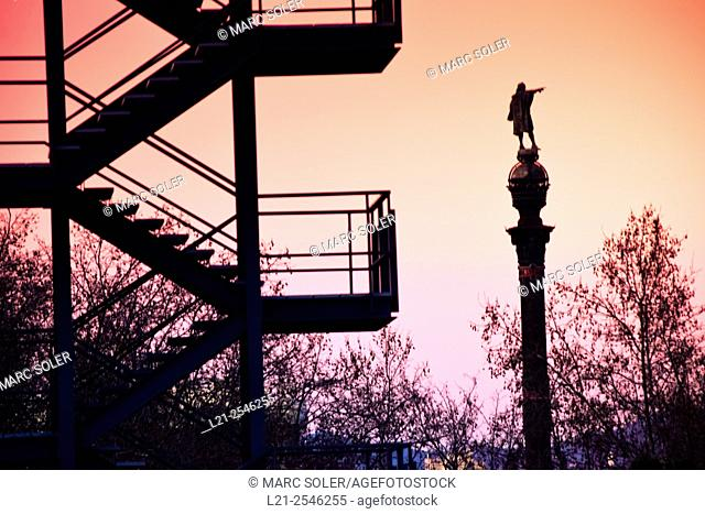 Columbus Monument  silhouette at dusk. Barcelona, Catalonia, Spain