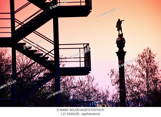 Columbus Monument  silhouette at dusk. Barcelona, Catalonia, Spain