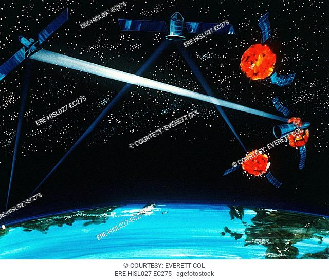 1984 military artist's concept of a hybrid ground and space-based laser weapon destroying enemy satellites. BSLOC-2011-12-346