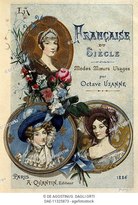Title page of The French Woman of the Century: Fashions, Manners, Usages, 1886, by Octave Uzanne (1851-1931), illustration by Albert Lynch (1851-1912)