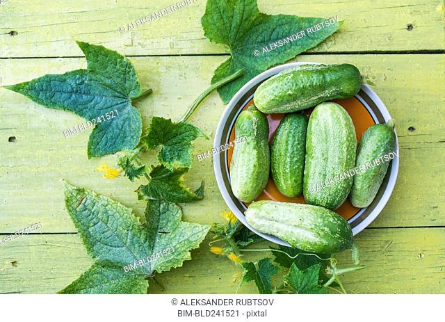 Green cucumbers and leaves on wooden table