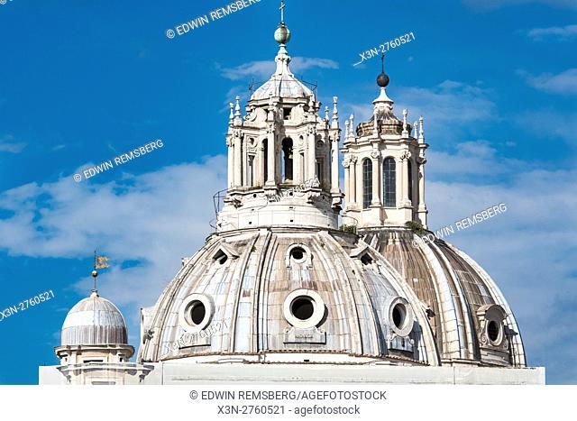 Rome, Italy- Close up view of Santa Maria di Loreto and Santissimo Nome di Maria al Foro Traiano, two churches located at the Trajan Forum