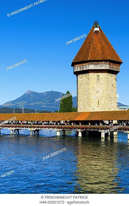 Chapel bridge with Rigi, Lucerne, Switzerland
