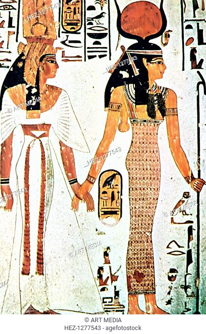 Nefertari and Isis, Ancient Egyptian wall painting from a Theban tomb, 13th century BC. Nefertari (1292-1225 BC) was the favourite queen of Ramses II