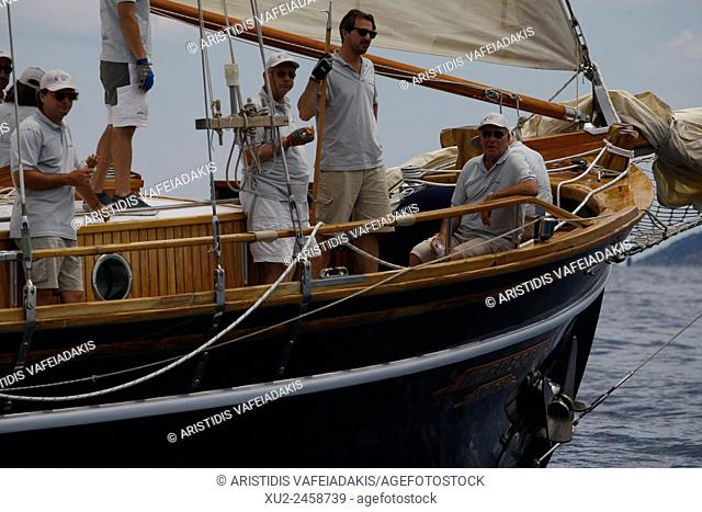 """Prince Nikolaos of Greece on the traditional boat """"""""Afroessa"""""""" during the """"""""Spetses Classic Yacht Race Regatta"""""""""""