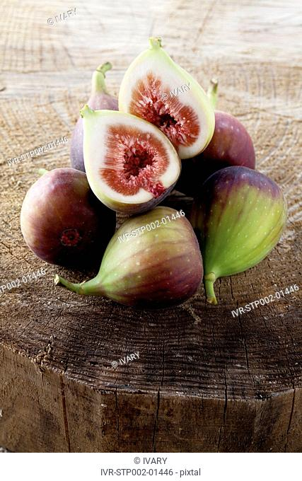 Figs On Wood, One Halved
