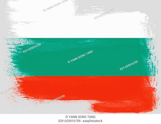 Flag of Bulgaria painted with brush on solid background