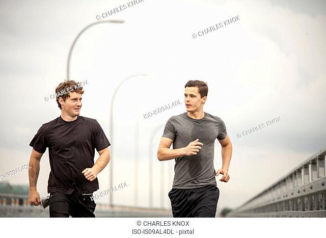 Young men jogging
