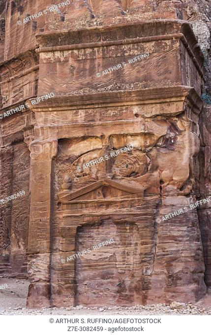 Street of Façades. Tomb façade. Petra Archaeological Park, Petra. UNESCO World Heritage Site, one of the new Seven Wonders of the World