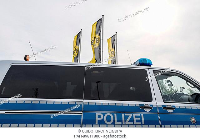 Apolice car parks outside the training grounds in Dortmund, Germany, 12 April 2017. Three explosions occurred next to the team bus of the Borussia Dortmund...