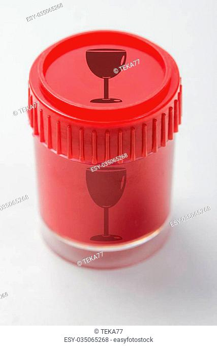 red colored pot with a whine glass symbol