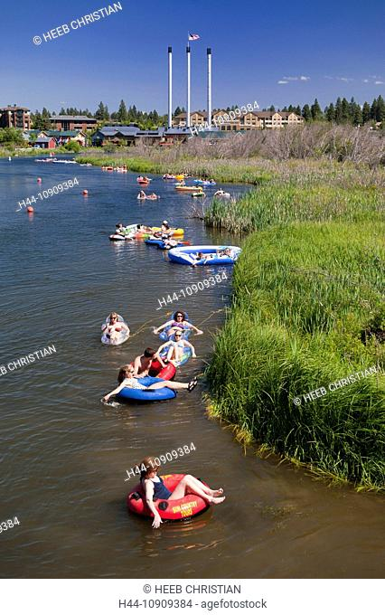 Deschutes River, Old Mill, Bend, Oregon, USA, United States, America, People, floating, leisure
