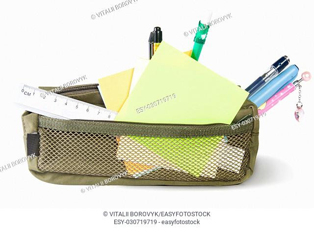 Pencil case with stationery isolated in white background