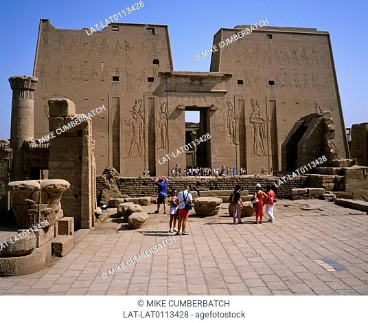 The Temple of Edfu is an ancient Egyptian temple located on the west bank of the Nile in the city of Edfu. The temple,dedicated to the falcon god Horus