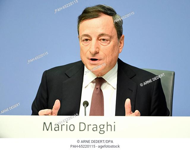 Mario Draghi, President of the European Central Bank (ECB), speaking during the ECB press conference in Frankfurt am Main, Germany, 21 January 2016