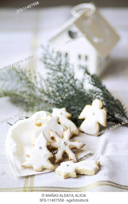 Christmas biscuits with white icing