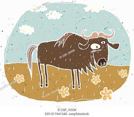 Hand drawn grunge illustration of cute gnu on background with flowers and clouds. Illustration is in eps8 vector mode!