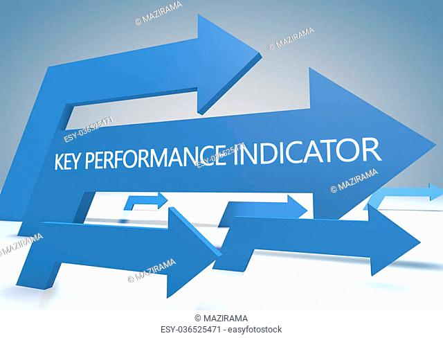 Key Performance Indicator 3d render concept with blue arrows on a bluegrey background