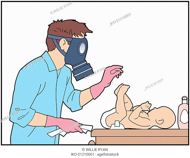 Father wearing gas mask to change baby's nappy