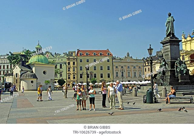 Church of St Wojiech Monument of Adam Mickiewicz Main Market Square Cracow/Krakow Poland