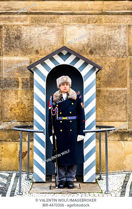 Palace guard at Prague Castle, Hradcany, Prague, Bohemia, Czech Republic