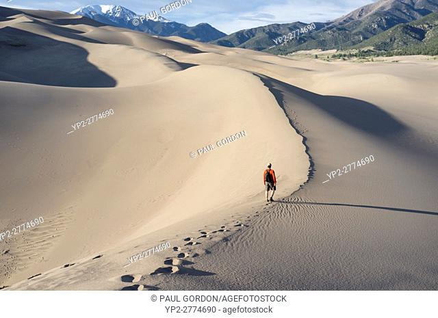 Saguache County, Colorado: Man walking along High Dune at Great Sand Dunes National Park and Preserve. In the distance is Mount Herard in the Sangre de Cristo...
