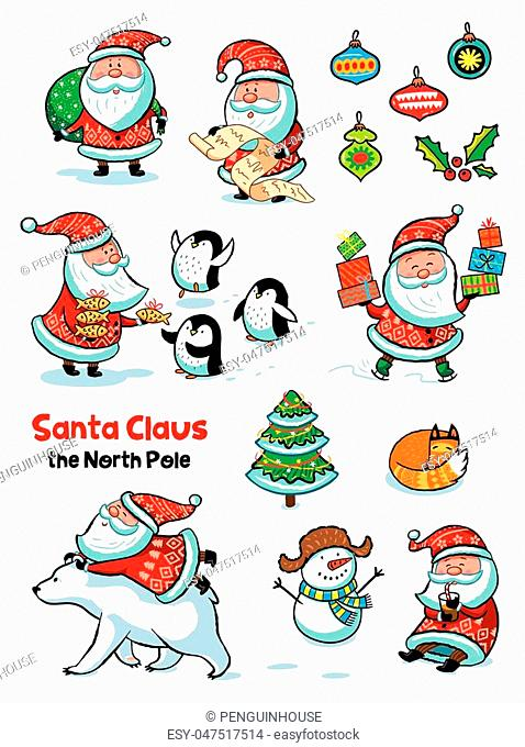 Collection of cartoon Santa Claus. Characters set. Holiday vector illustration