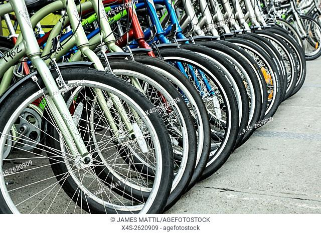 Bicycles arranged along a sidewalk before an international cycling event