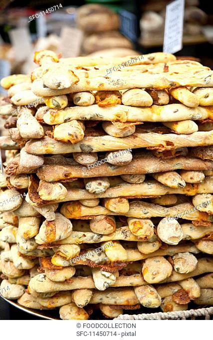 Artisan bread sticks at Borough Market (London, England)