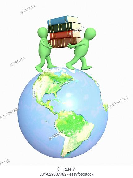 3d puppets with books on Earth. Over white