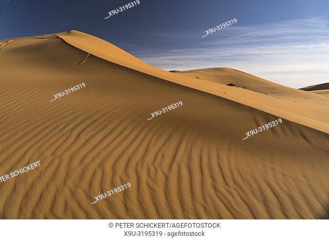 sand dunes in the Sahara desert near Merzouga, Kingdom of Morocco, Africa