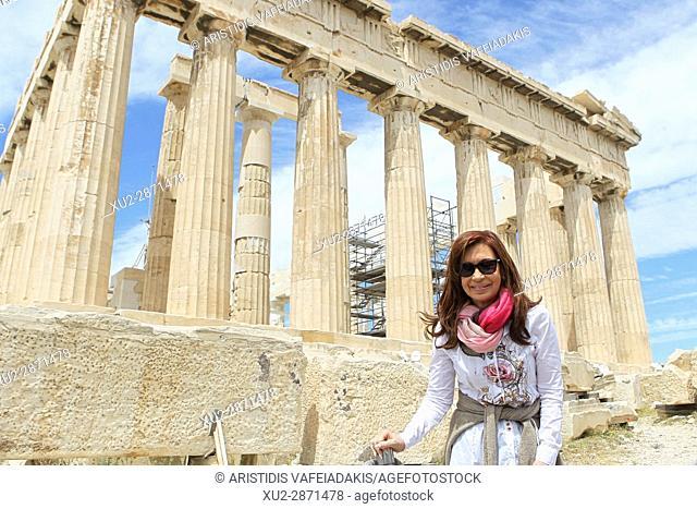 Former Argentine president Cristina Fernandez de Kirchner visits Acropolis. Cristina Fernandez de Kirchner is in Athens invited by the governing SYRIZA party