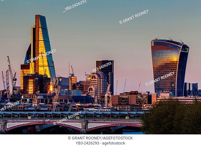 The City of London Skyline from Waterloo Bridge, London, England
