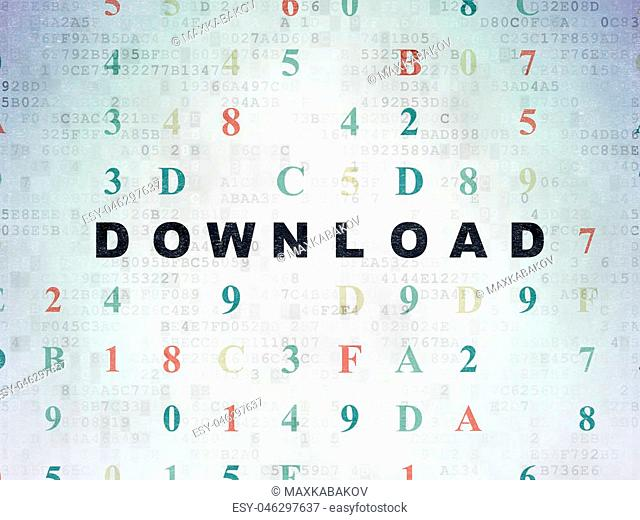 Web development concept: Painted black text Download on Digital Data Paper background with Hexadecimal Code