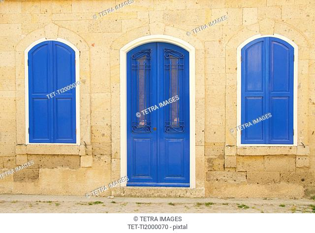 Turkey, Cesme, Alacati, facade of traditional house