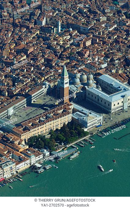 Italy, Venice city, Piazza San Marco (aerial view)