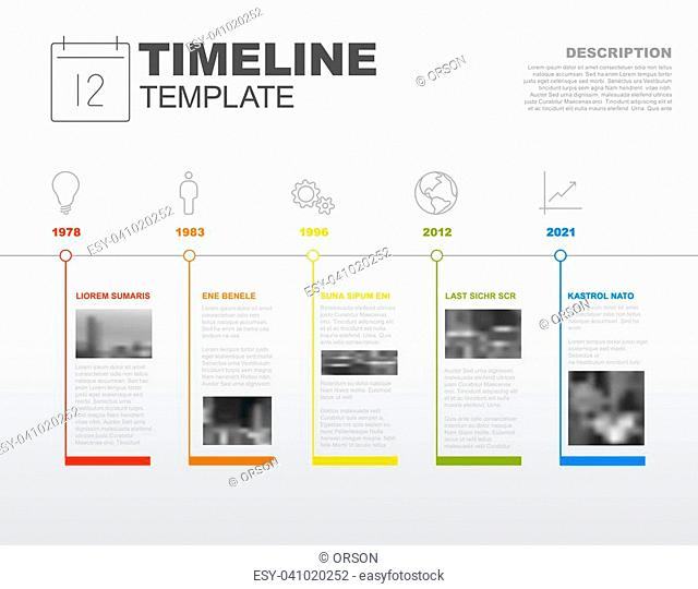 Simple vector Infographic timeline report template with the biggest milestones, icons, photos, years