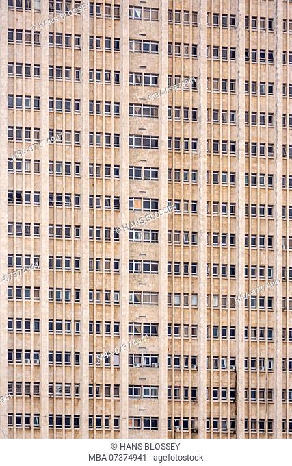 Window front of the Hermanos Amajeiras Hospital at Malecon, La Habana, Havana, La Habana, Cuba, Cuba