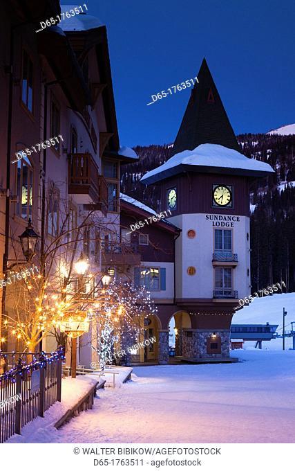 Canada, British Columbia, Sun Peaks, Sun Peaks Resort, village clock tower, winter, dawn