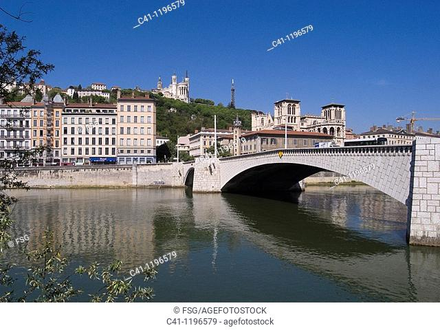 Pont Bonaparte over Saône river, Lyon, Rhône-Alpes, France