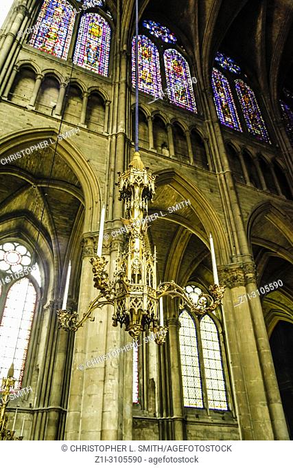 Architectural detail inside the medieval Cathedral in Reims, a UNESCO site in France