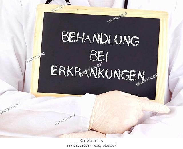 Doctor shows information: treatment of diseases in german