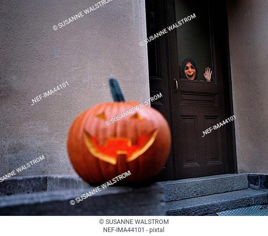 A pumpkin during Halloween Sweden