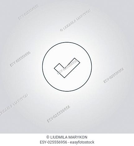 Tick. Flat web icon or sign isolated on grey background. Collection modern trend concept design style vector illustration symbol