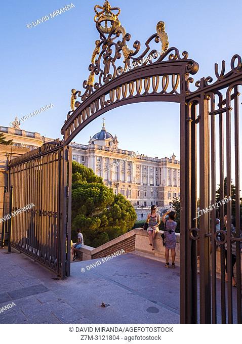 Royal Palace at sunset. Madrid, Spain