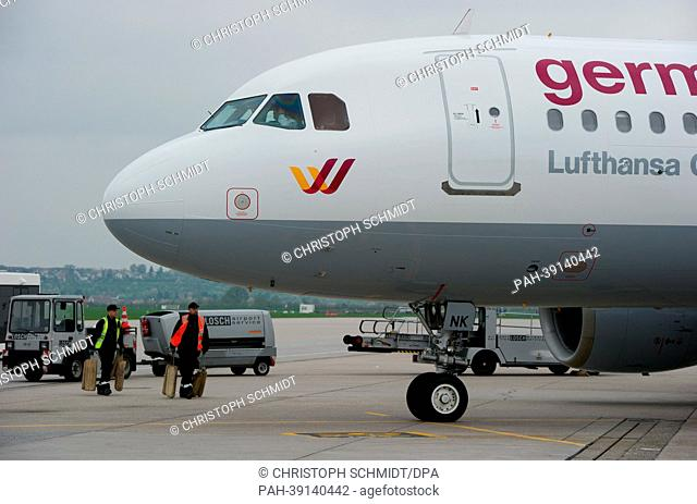 A Germanwings airplane is parked on the apron at the airport in Stuttgart,Germany, 30 April 2013. In the light of the difficult situation in the air transport...