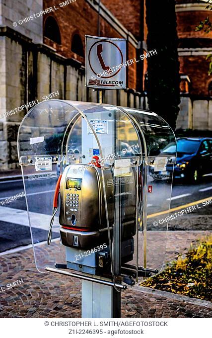 Italian public telephone kiosk in Udine Italy