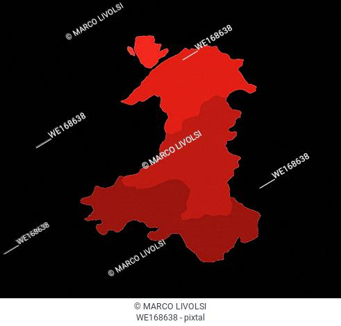map of Wales with regions