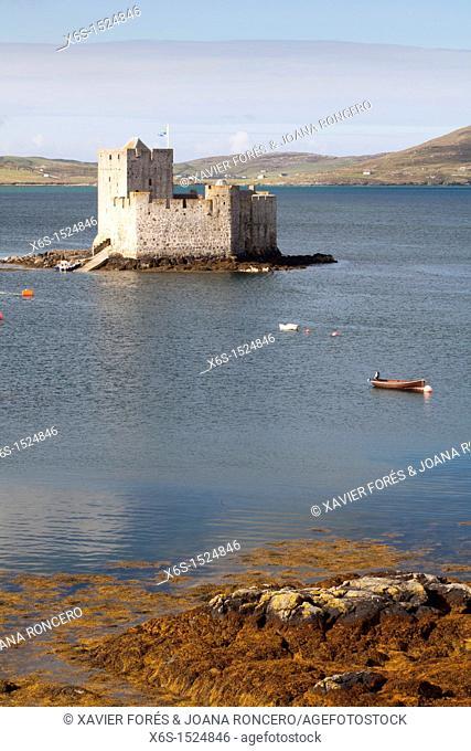 Kisimul Castle in Castlebay or Bagh a'Chaisteil, Isle of Barra - Barraigh -, Western Isles or Outer Hebrides -Na h-Eileanan an lar-, Scotland