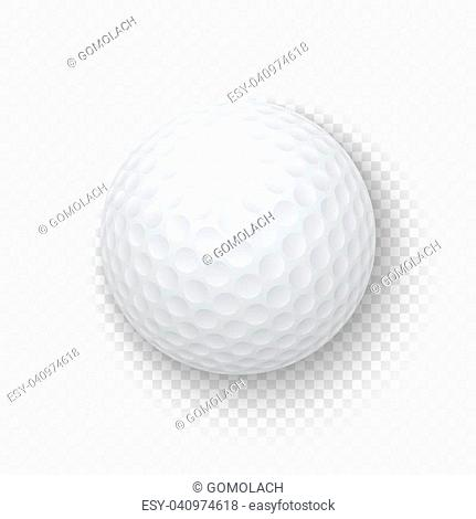 19d5952c Vector realistic 3d white classic golf ball icon closeup isolated on  transparency grid background. Design